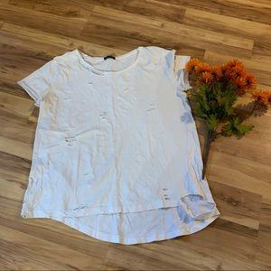 Zara white destroyed  t shirt size m